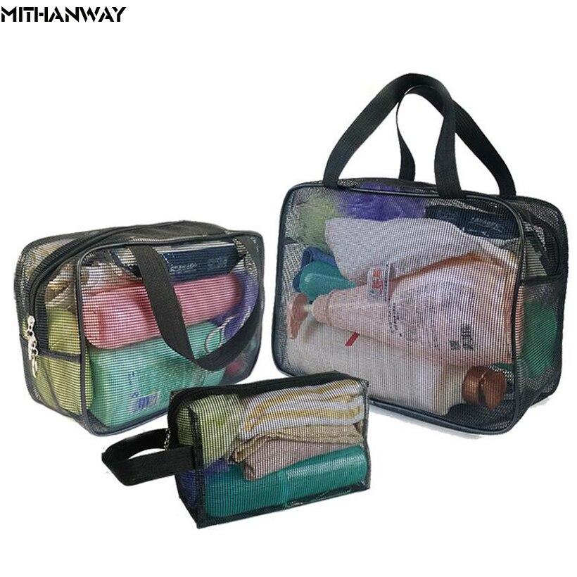 Bolso de malla transparente para mujer, multifuncional, portátil, para gimnasio, natación, baño, almacenamiento de viaje, bolsa de 4 colores