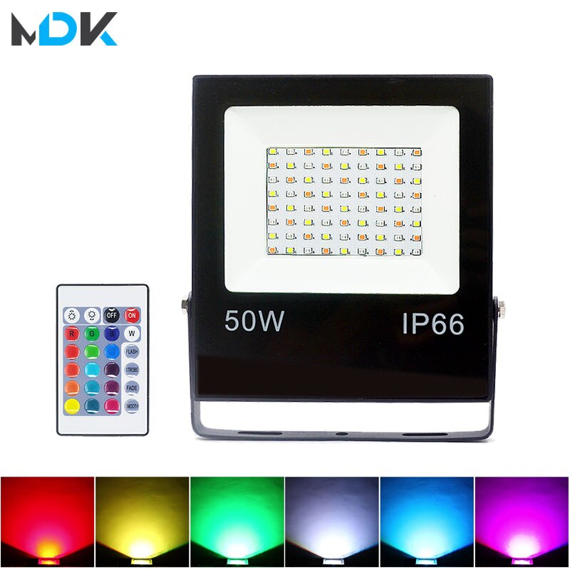 Foco Reflector LED RGB para exteriores, Reflector Led de 50W, 30W, 10W, Reflector Led de 16 colores, resistente al agua IP66