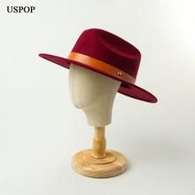 USPOP  Women autumn winter hats 100% wool fedoras belt decorated jazz hat