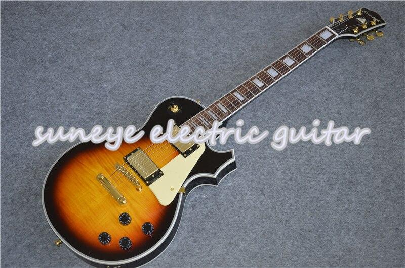 Gran oferta de Guitarra eléctrica personalizada Suneye Cream Pickguard, Guitarra Vintage Sunburst,...