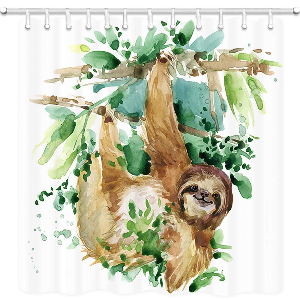 Sloth animal bonito no ramo de árvore cortinas de banho de tecido de poliéster