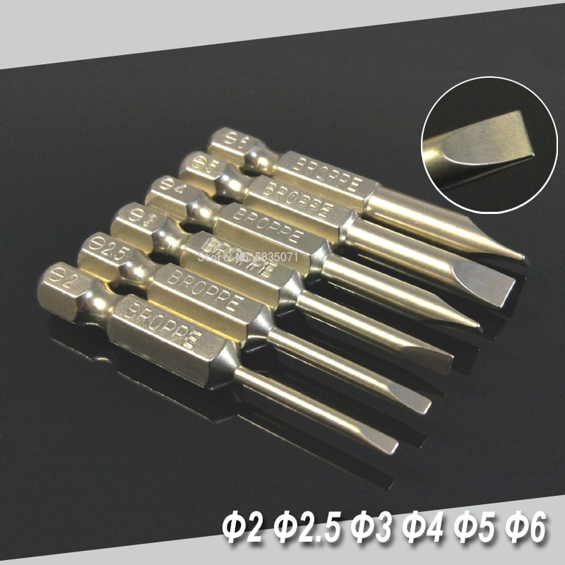 """Juego de 6 uds de puntas de destornilladores de punta plana magnéticas de 50mm 2-6mm Puntas de destornilladores hexagonales de 1/4 """"conjunto de herramientas de mano"""