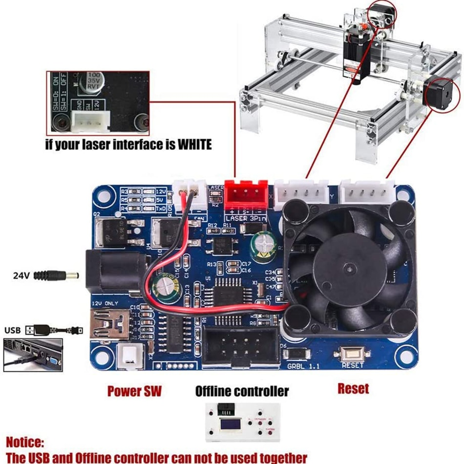 2-Axis Control Board USB Port GRBL CNC Engraving Machine  Laser Engraver Control Board Offline for 2418 3018 3018Pro Engraver enlarge