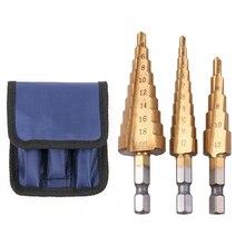 3 Pcs Set Boor Hss Stap Cone Taper Hole Cutter Metric 4-32 Mm Titanium Coated Metal Hex boor