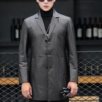 luxury business man long cowhide genuine leather jacket slim fit single breasted trench coat office man windbreaker outwear coat