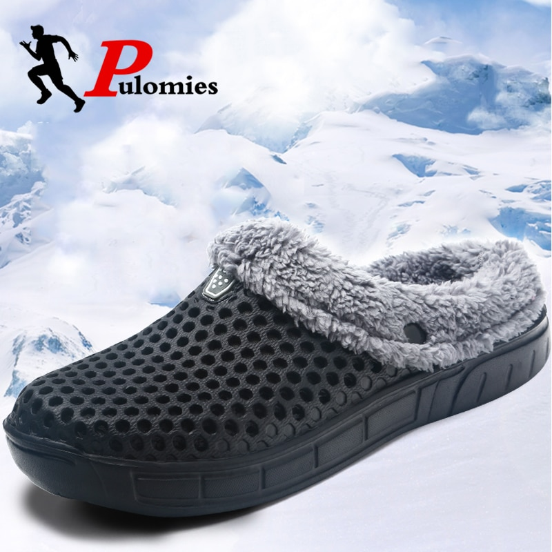 PULOMIES Men and Women Winter Slippers Fur Slippers Warm Fuzzy Plush Garden Clogs Mules Slippers Home Indoor Couple Slippers