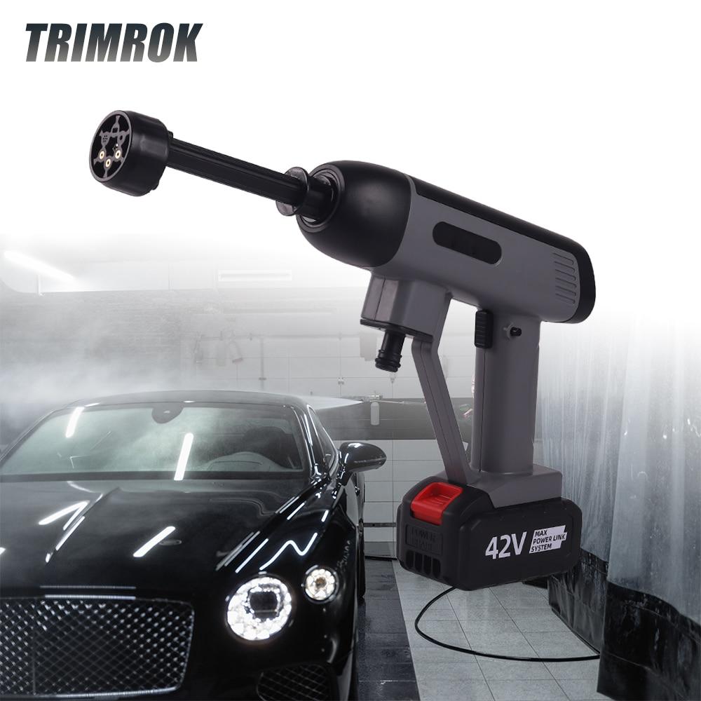 TRIMROK 45Bar 1500 واط اللاسلكي ارتفاع ضغط آلة غسل سيارات سيارة قابلة للشحن غسل بندقية الكهربائية مدفع المياه آلة الرغوة لحديقة السيارات