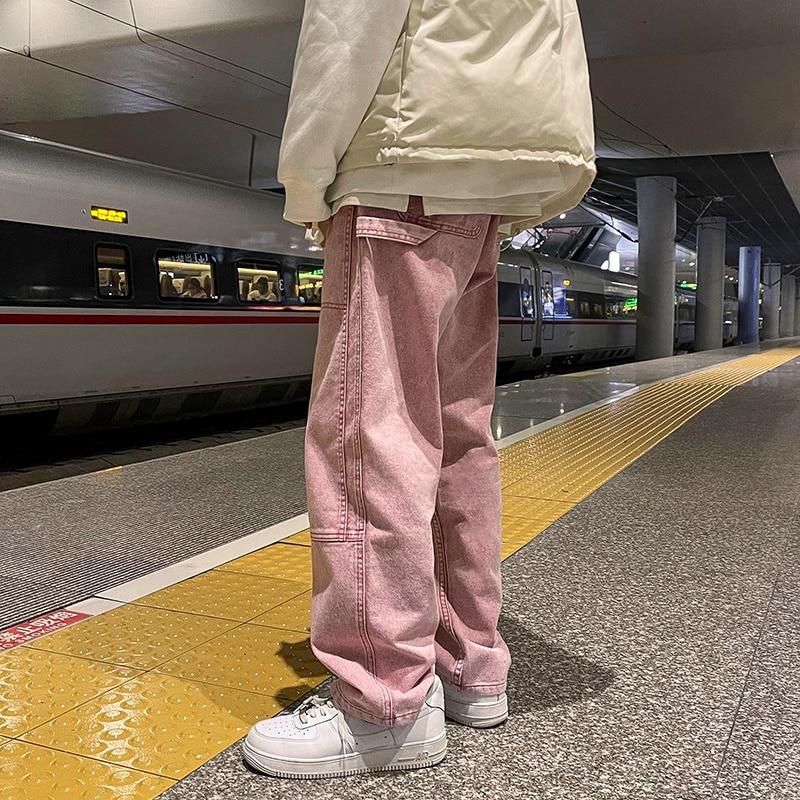 Мужские джинсы, модные новые свободные прямые джинсовые брюки, мужские повседневные мешковатые нейтральные джинсовые брюки, мужские и женс...