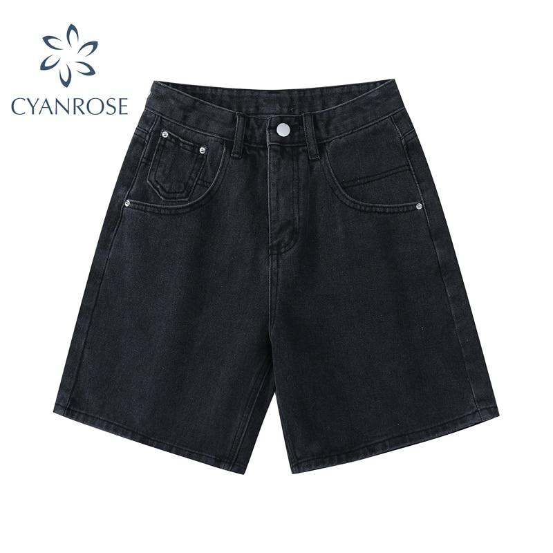 New 2021 Summer High Waist Denim Shorts Women Casual Loose Ladies Fashion Plus Size Fashion Button W