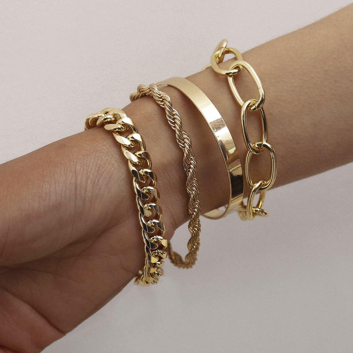 2020 pulsera de cadena cubana de moda gruesa para mujer, Color dorado, Punk, cadena gruesa, pulsera, brazalete, joyería de playa
