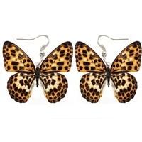leopard flower butterfly acrylic earrings fashion women ladies girl jewelry dangle pendant big drop fly wing earring lady party