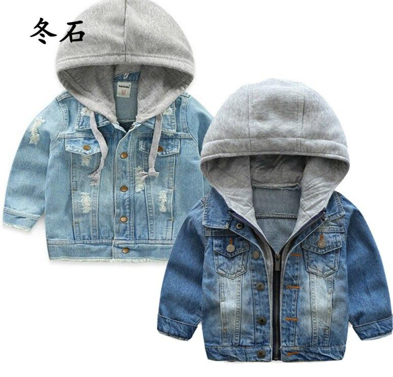 Calças de brim das crianças jaquetas blusão para meninos meninas roupas denim casacos outono bebê crianças jean com capuz outerwear