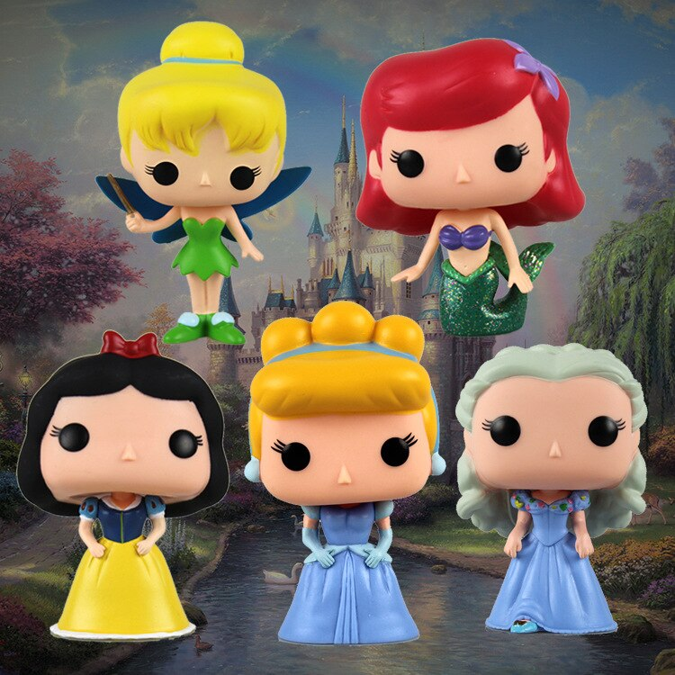 Funko Pop de la historieta congelada de la princesa Elsa Anna Blancanieves Cenicienta campana Ariel figura de vinilo modelo Juguetes
