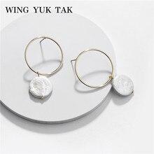Wing yuk tak, pendientes Vintage de primavera, novedad de verano, diseño de perlas de agua, pendientes de tuerca para mujeres, pendientes de conchas de corazón, joyería