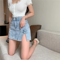 women summer 2021 sexy high waist a line side slit mini denim skirt new korean style all match solid color casual women clothing