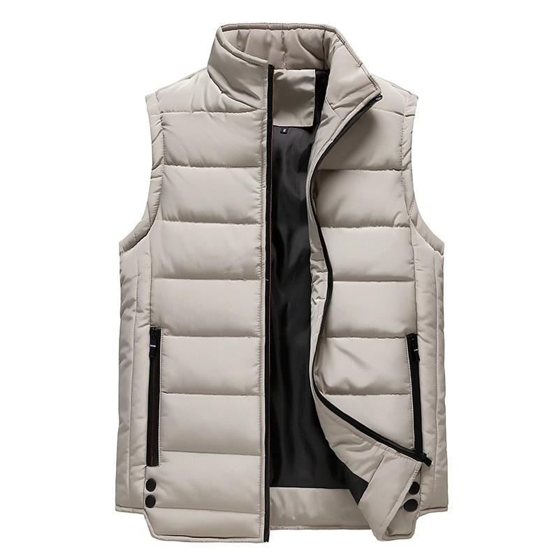 Мужской зимний жилет, куртка на молнии, брендовый мужской жилет, мужской легкий водонепроницаемый Приталенный жилет без рукавов на белом ут...