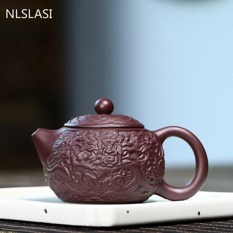 أصيلة ييشينغ براد شاي الأرجواني الطين Xishi تصفية إبريق الشاي الجمال غلاية خام خام اليدوية طقم شاي مخصص درينكوير 130 مللي