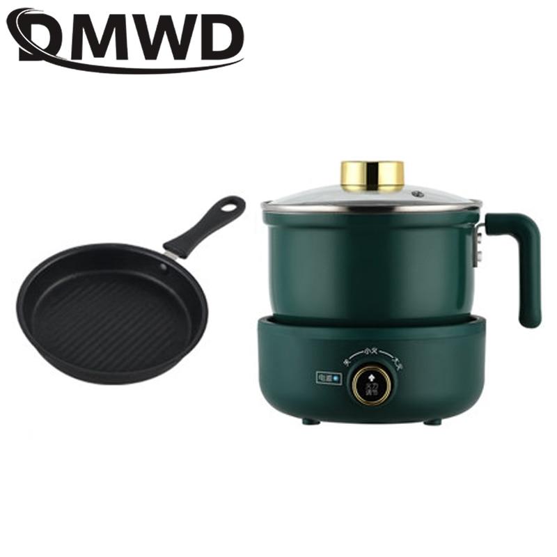DMWD متعددة الوظائف طباخ كهربائي المنزلية انقسام وعاء صغير تحريك مقلاة إناء/ قدر المعكرونة المقلية البيض ستيك مقلاة 1.8L