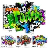 Affiche dart mural de mode couleur Graffiti  peinture sur toile de Football creative  decoration moderne de salon