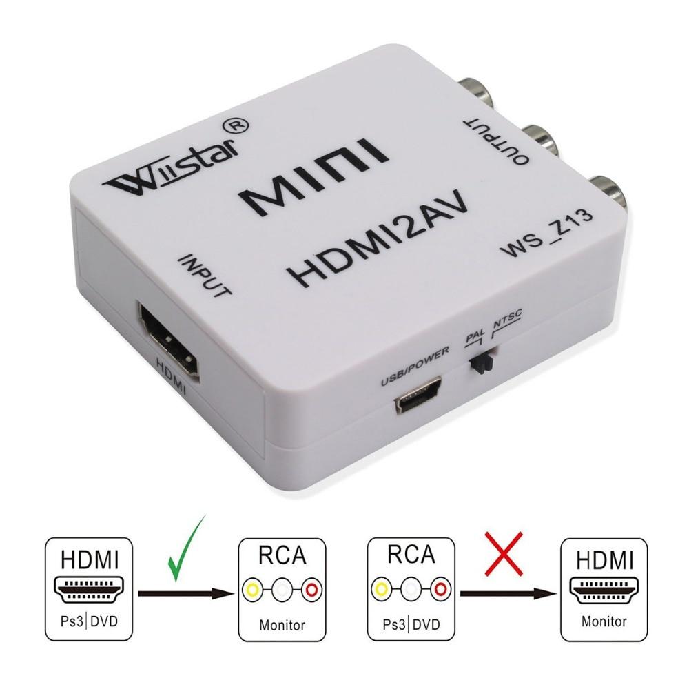 HDMI ZU AV Scaler Adapter HD Video Converter Box HDMI Zu RCA AV/CVSB L/R Video 1080P HDMI2AV Unterstützung NTSC PAL für Mini