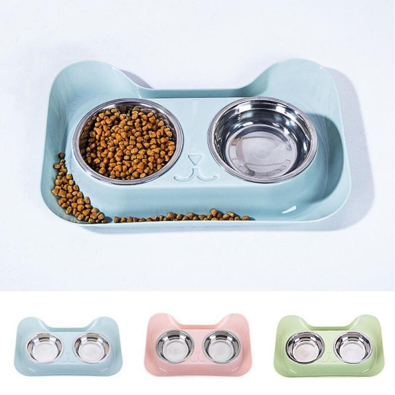 Cuencos duraderos para perros y gatos, cuencos de alimentación de acero inoxidable con diseño antiderrames y antideslizantes para alimentación de mascotas y agua elevada