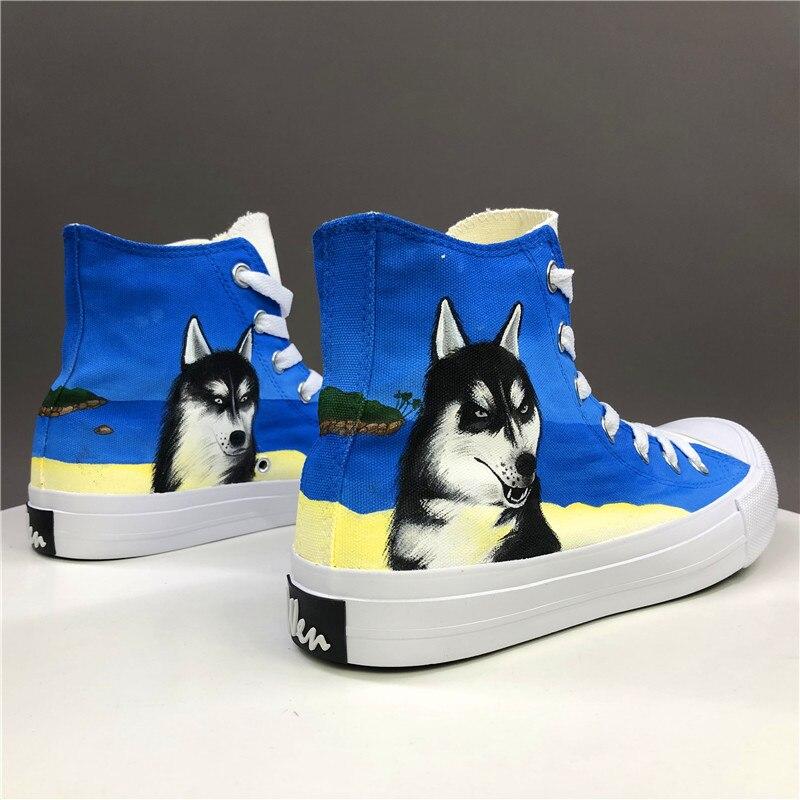 Zapatos vulcanizados de temporada Wen, calzado pintado a mano de perro mascota Husky, zapatillas de lona, alpargatas Unisex para adultos, limsolls planos