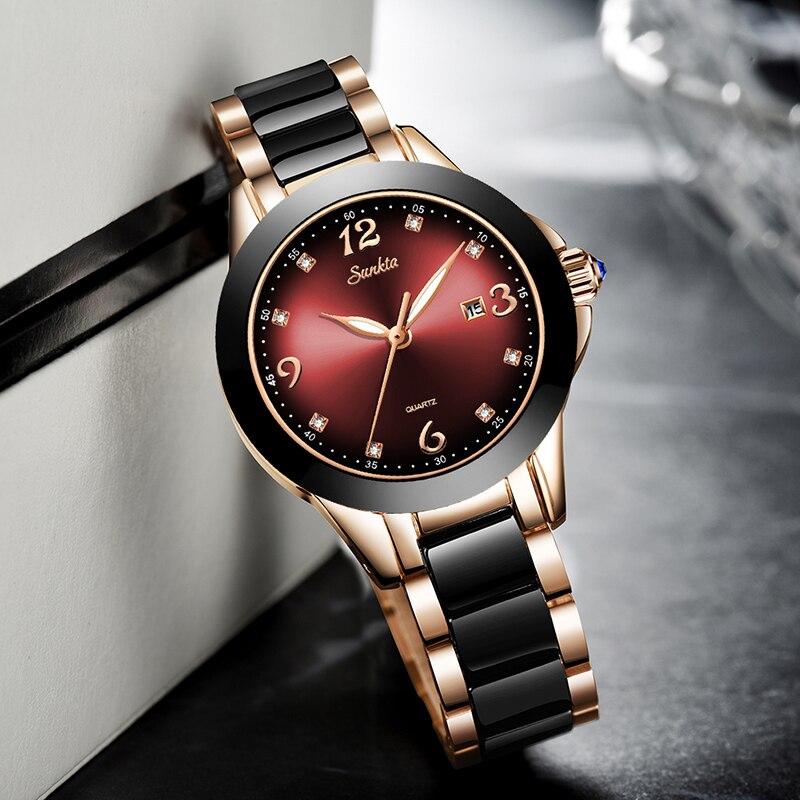 2019 SUNKTA Brand Fashion Watch Women Luxury Ceramic And Alloy Bracelet Analog Wristwatch Relogio Feminino Montre Relogio Clock enlarge
