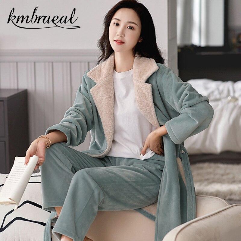 بيجامة للنساء الشتاء 2 قطعة ملابس خاصة الفانيلا سميكة نوعية جيدة الدافئة Homewear المرجان رداء حمام ناعم بلون حجم كبير 3xl
