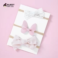 3pcsset baby girls nylon soft headbands bow knot hair kids toddlers elastic head wear hair band infant hair accessories