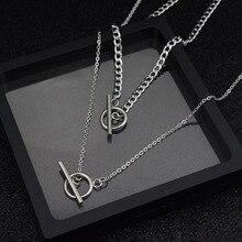 1pc deux Types longue chaîne collier idole même bijoux mode acier inoxydable collier OT pendentif tour de cou hommes femmes kpop