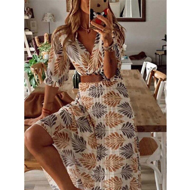 Robe longue plissée, vêtement de plage, imprimé à col en v, robe longue, pour les vacances, Sexy, ample, nouvelle collection été printemps, décontracté