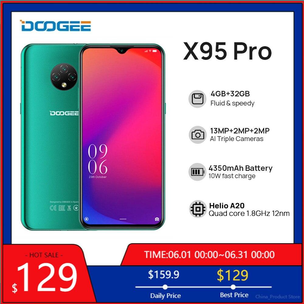 Перейти на Алиэкспресс и купить Новое поступление DOOGEE X95 Pro глобальная версия смартфон 4 Гб + 32 ГБ Helio A20 Android 10 OS мобильных телефонов 13MP 6,52 ''4350 мА/ч, мобильный телефон