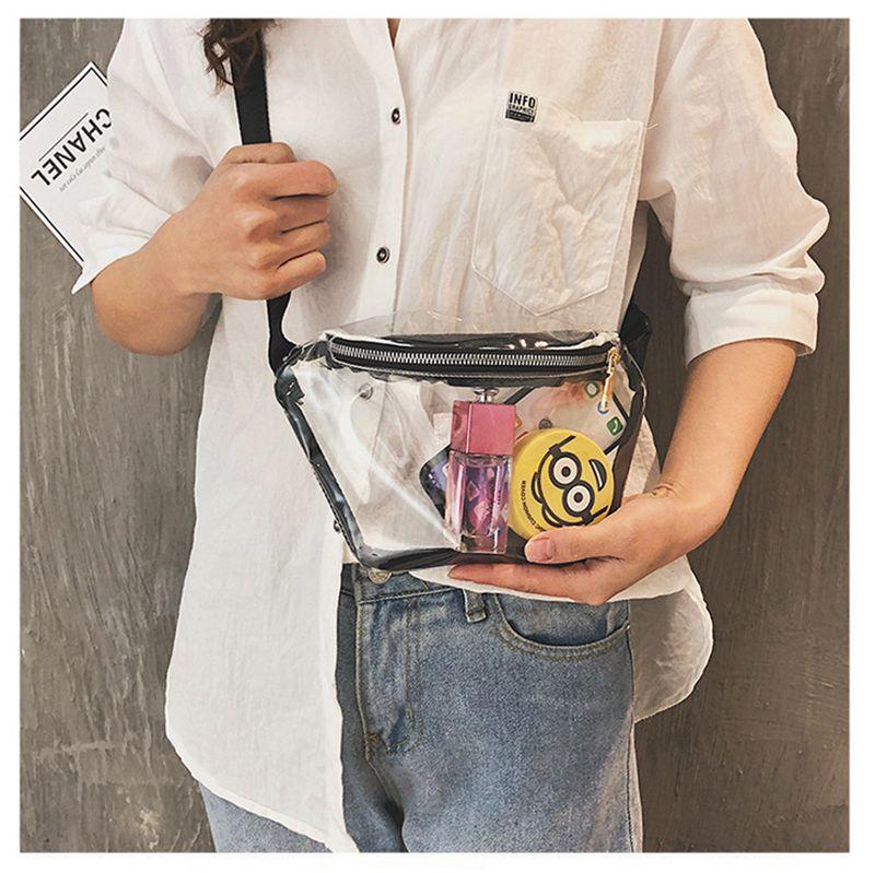 Bolso transparente para mujer, riñonera de PVC, cremallera transparente, bolso cruzado, bolso de hombro para la cintura, bolso/por