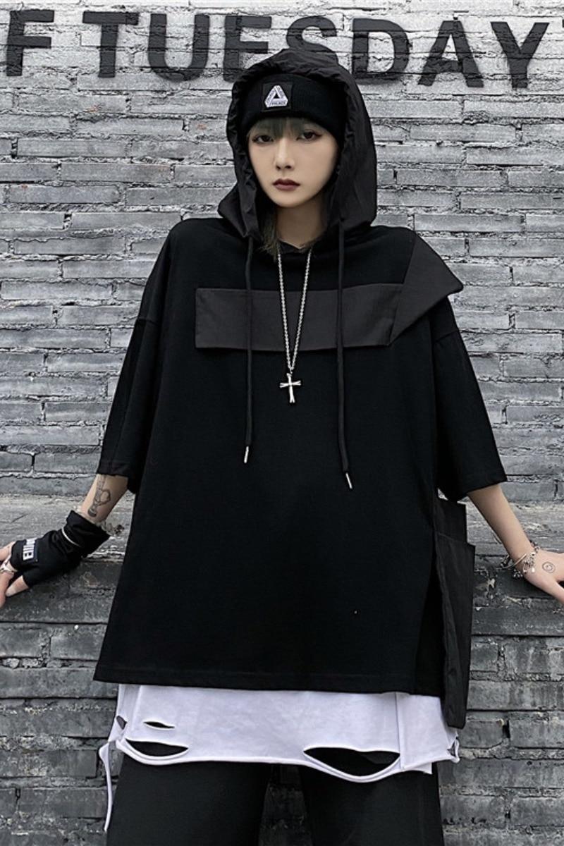 Summer Women Sweatshirts Ladies Hooded T-shirt Thin Tops Female Half Sleeve Hoodies Oversize Clothing Casual Fashion Loose
