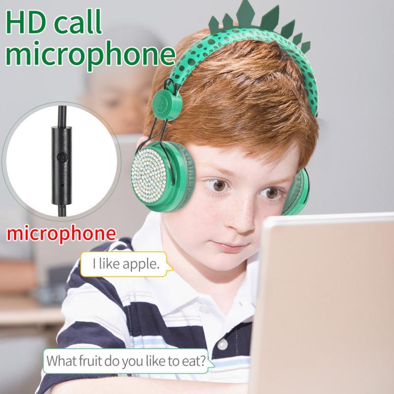 Nette Jurassic Dinosaurier Kopfhörer 3,5mm Wired Gaming Lernen Headset Mit Mikrofon Gaming Headset Kind Geschenke Kopfhörer