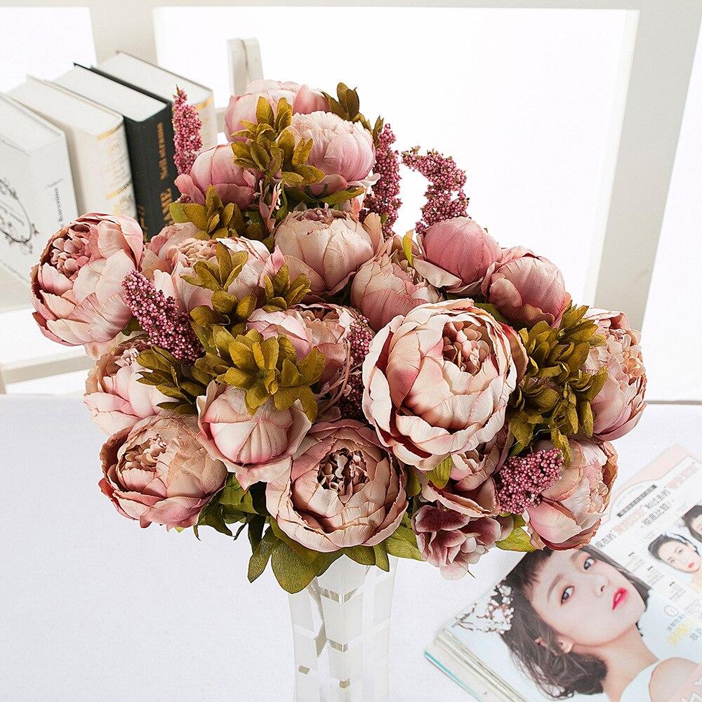 1 ramo europeo de rosas o peonías flores artificiales flores falsas de seda para fiesta peonías para decoración de boda decoración de Hotel en casa corona