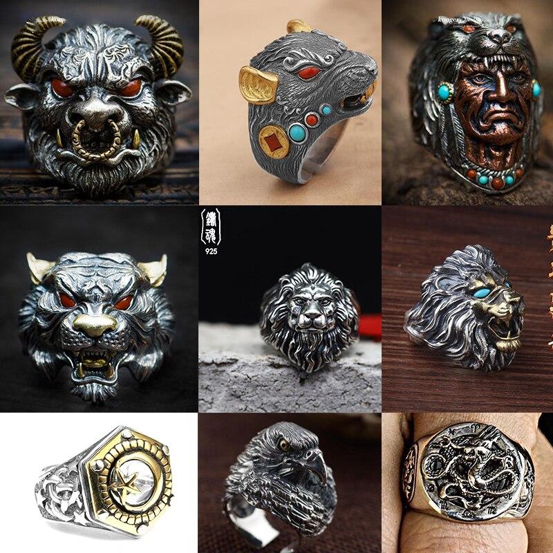 Nuevo anillo de ciclista para hombre, regalo de joyería de Vintag para él, gótico para hombre, anillo de cruz, piedra de moda, animal de plata, joyería de León para hombre