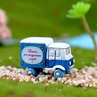 4pcs small trucks miniature house fairy garden home decoration mini craft micro landscaping decor bonsai terrarium ornament