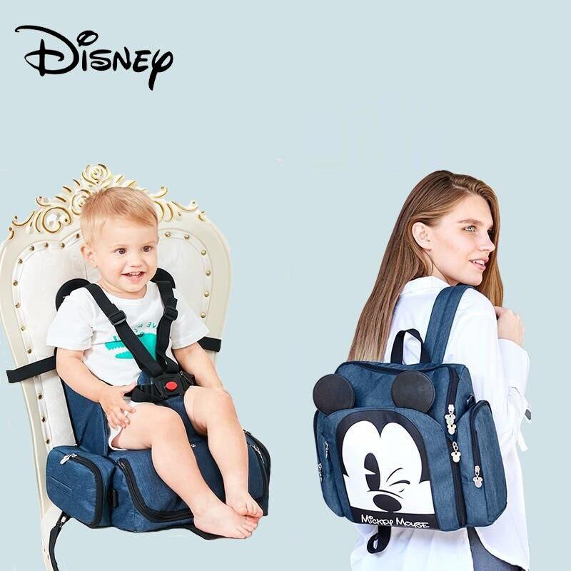 Venta caliente Disney Silla de comedor de bolsa de pañales bolso impermeable, mochila de viaje bolsas de momia bebé llevar