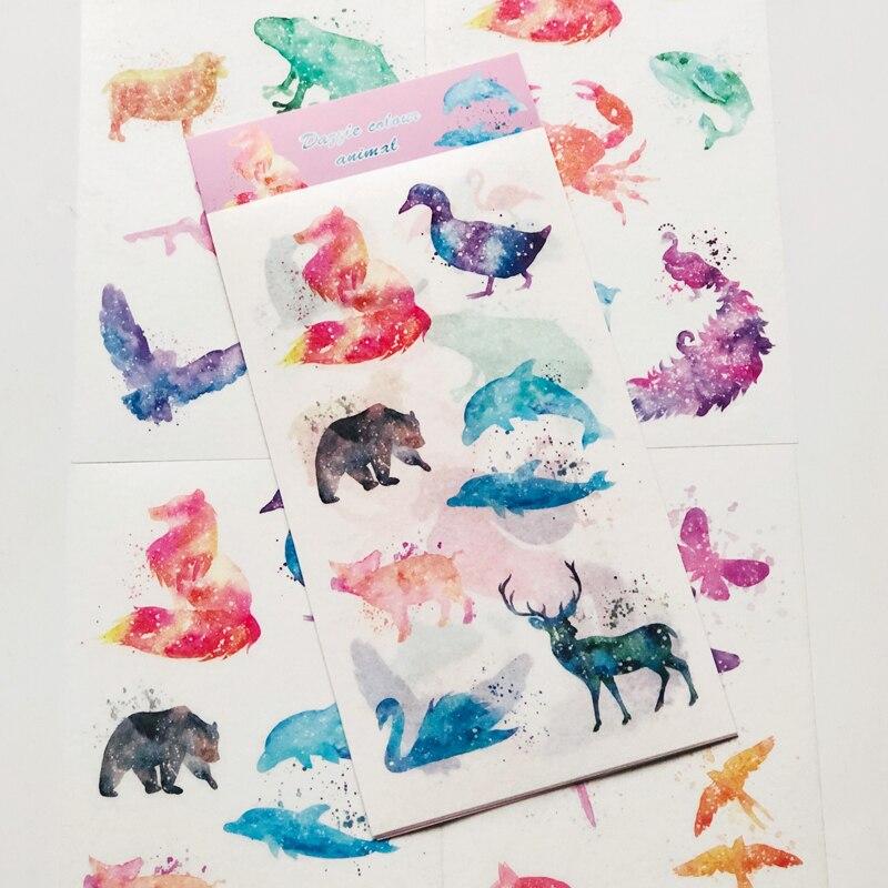 4 листа/мешок Watercolored градиент Звездное Животные Бумага декоративная самоклеющаяся Стикеры