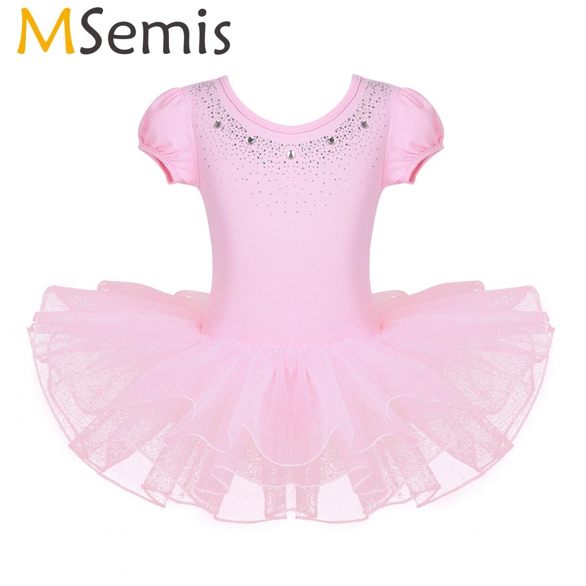 MSemis Baby Girl Rhinestones Bubble Sleeve Tutu Ballet Dress Kid Gymnastics Leotard Fairy Princess Dress Ballerina Dance Costume