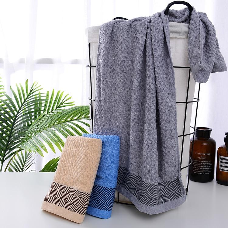 Diamond pattern embroidered cotton bath towel hand towels bathroom Super Soft 100% Cotton  Large Bath Towel 140 cm x 70 cm