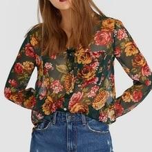 2019 za womens fashion flroal printed blouses blusa rose print females se-mi chiffon shirts for girls xs s m l