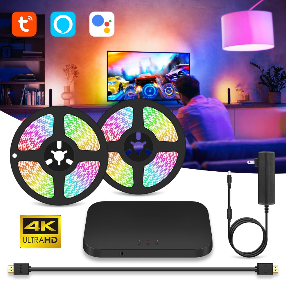 Smart Ambient TV PC Backlights WiFi RGB LED Strip Lights Dream Color Lights HDMI Sync Screen Lighting Kit For TV Box Xbox PS4