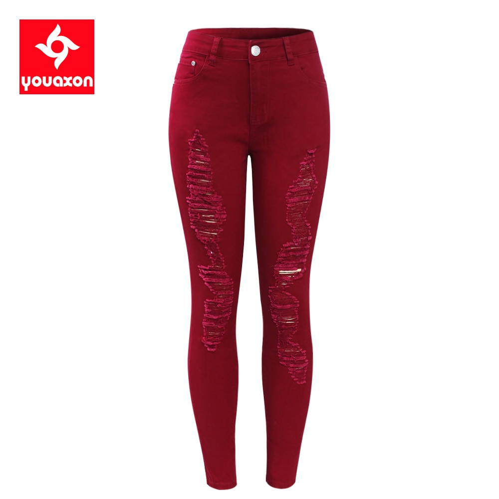 2095 youaxon Zerlumpten Jeans Frauen Stretchy Zerrissene Hosen Dünne Bleistift Jeans Frau Hosen Mit Schrammen