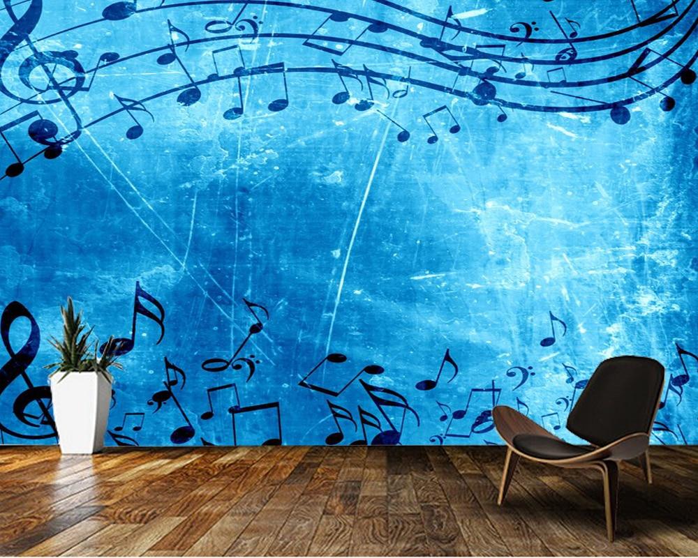 Personalizado papel de parede 3d azul música de fondo papel sofá de la sala de pared de TV pared del dormitorio impermeable mural