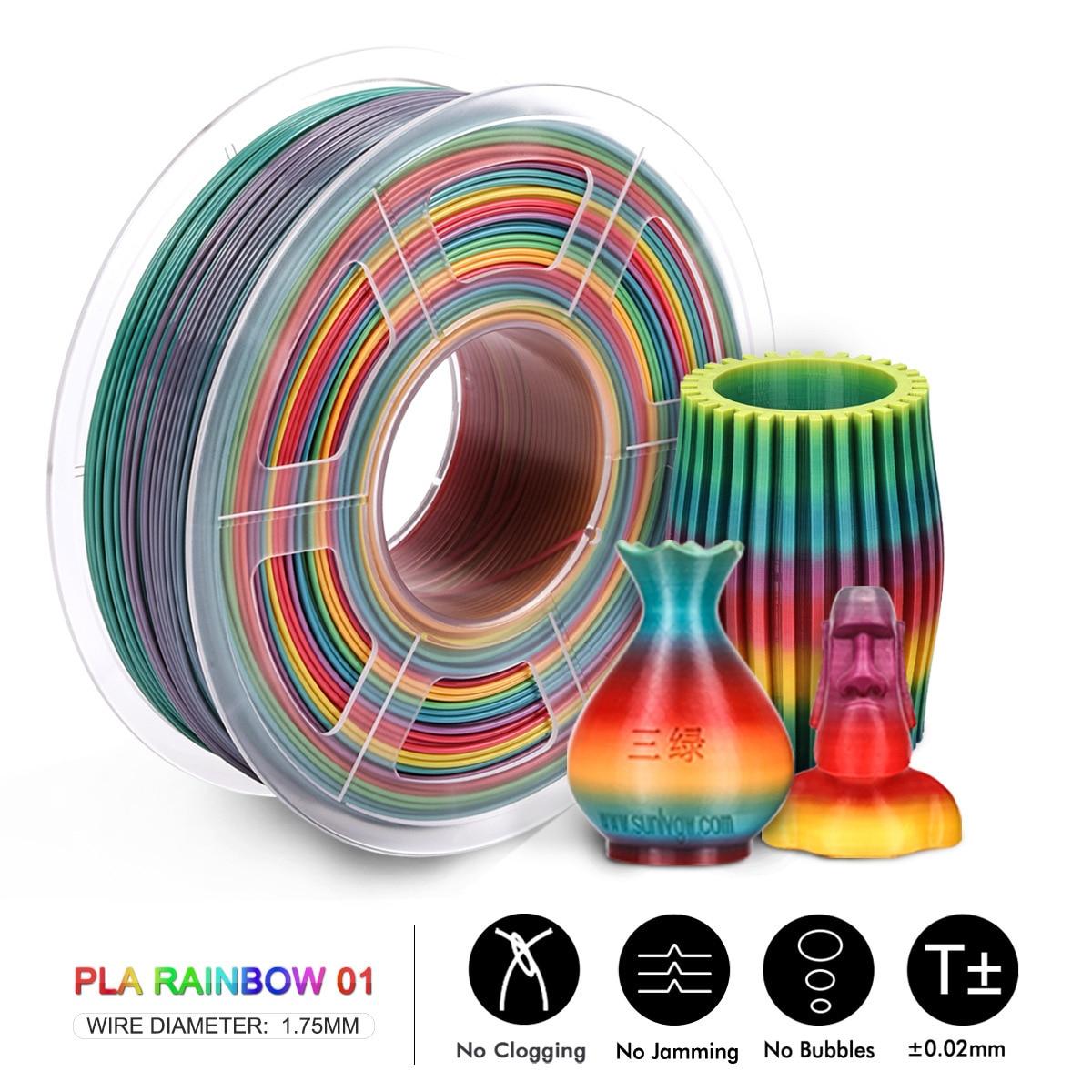 SUNLU 1.75mm PLA Rainbow color 3D printer Filament 100% no bubble with Vacuum bag packing Tolerance +/-0.02mm