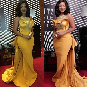 Elegant African Nigerian Mermaid Evening Dresses Fashion Gold Long Formal Plus Size Prom Dresses 2020 With Beaded Satin Train