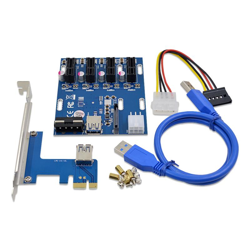 2021 الاحدث مع 6pin 15pin Sata 4pin موصل الطاقة 4 PCI-e 1X محول 1X فتحات بطاقة الناهض منفذ PCIe مضاعف بطاقة محول