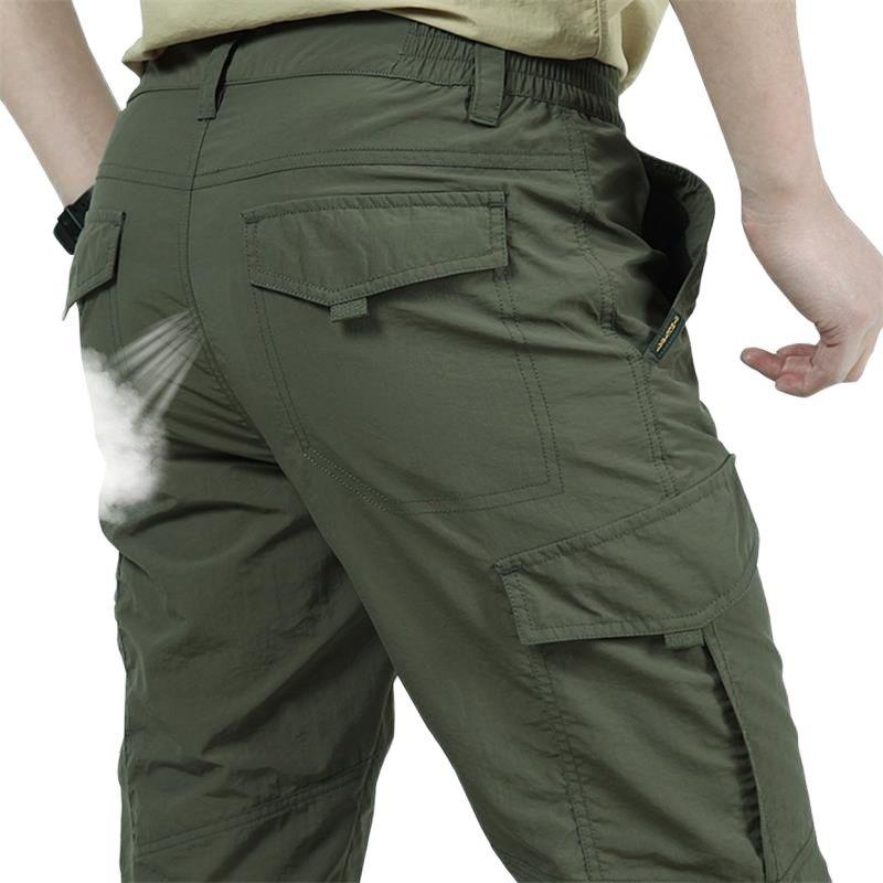 New 2021 Men's Summer Outdoor Sports Loose Pants, Summer Leisure Straight Leg Thin Pants, Men's Waterproof Quick-Dry Cargo Pants